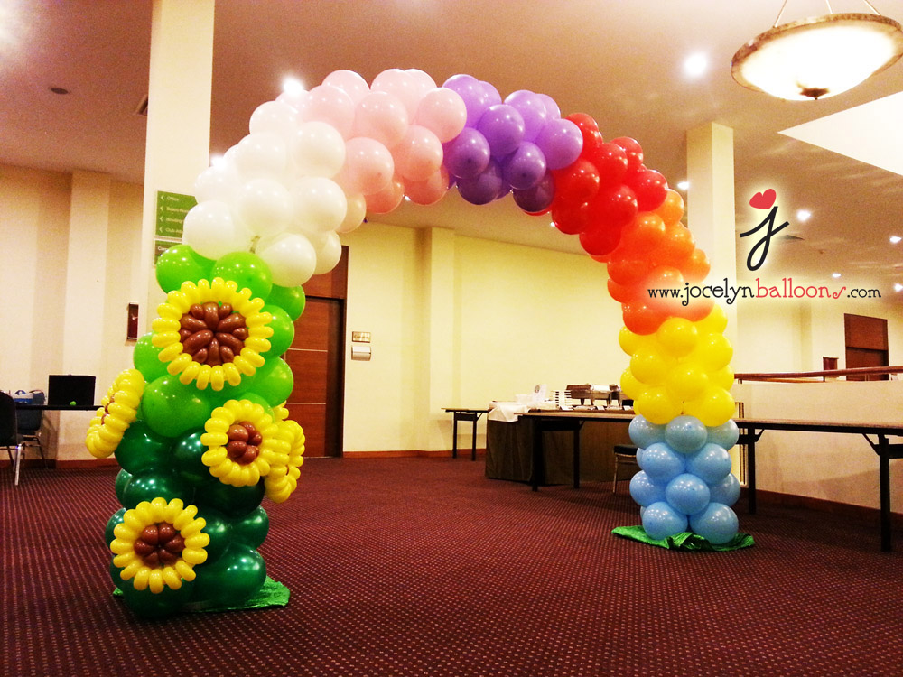 Rainbow and Sunflowers Balloon Arch