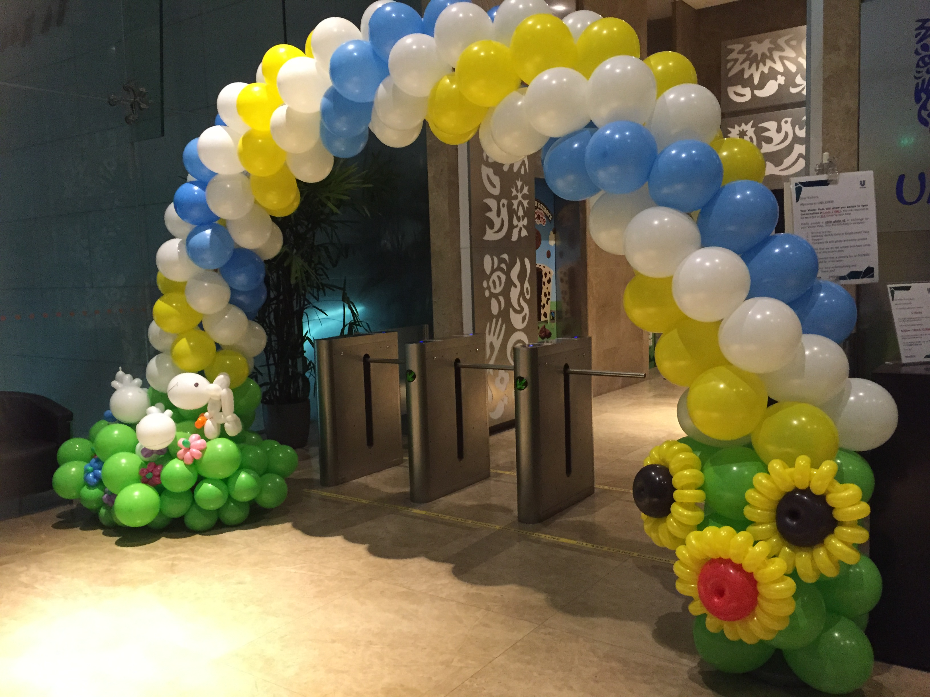 Birthday party balloon arches image inspiration of cake for Balloon decoration arches