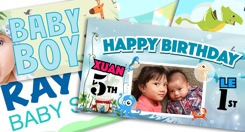 birthday party banner collage