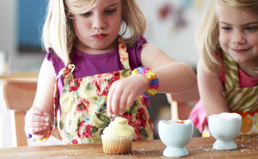 children making cupcakes for birthday party