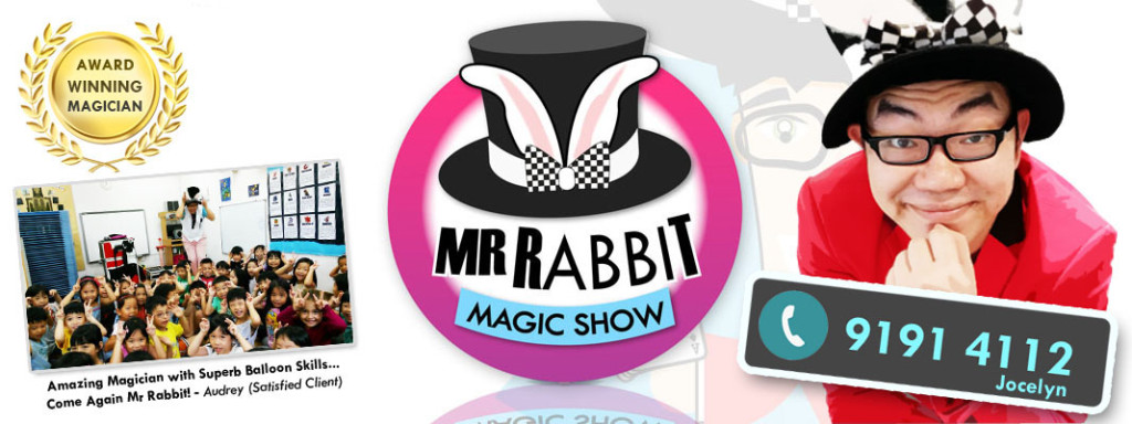 MR RABBIT kids magic show banner with contact number