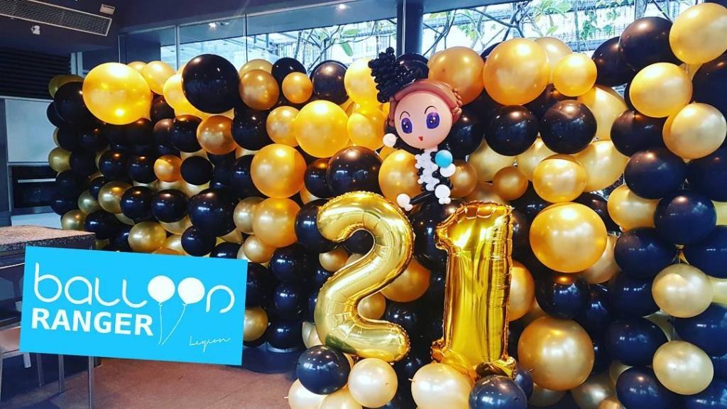 balloon 21st birthday backdrop